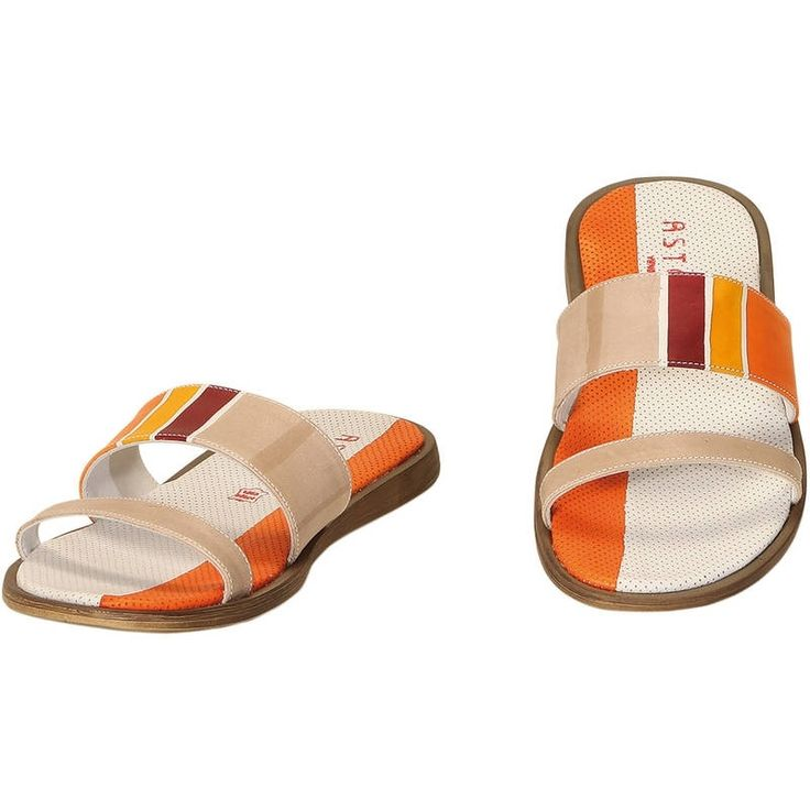 Natural leather colored man slippers, hand painted. Casual, original and trendy. Match them to bags and accessories from the man collection! Colors orange yellow violet and beige and pattern geometrical.
