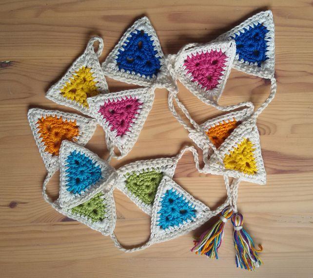 Multi Coloured and Cream Crochet Bunting £15.00