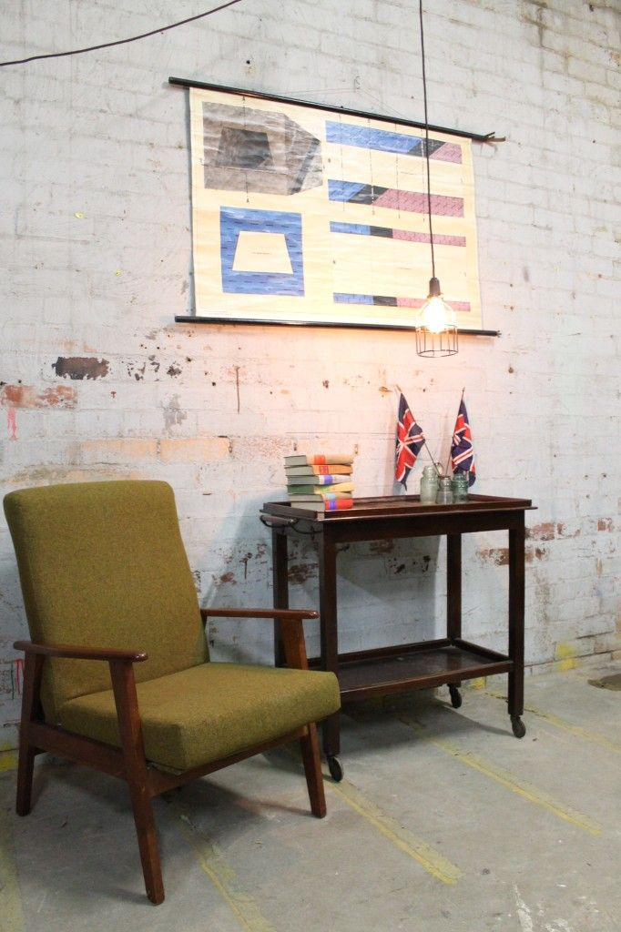 Retro chair and drinks trolley