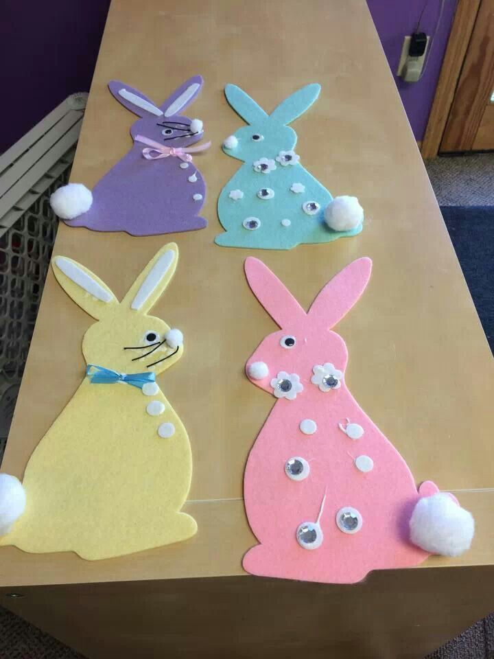 Foam easter bunnies | Friends Childcare Crafts | Pinterest