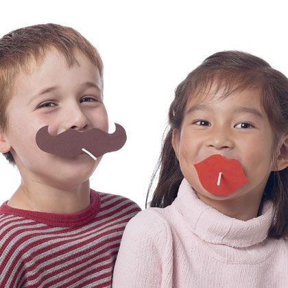 Sucker mustache and lips- valentine school or kids