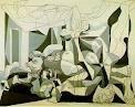 이 그림은 피카소의 <납골당>이라는 작품입니다. <게르니카> 이후 가장 주목할 작품이다. 1946년 2월 파리 근대 미술관에서 개최된 '예술과 혁명'전에 출품한 작품이다. 제2차 세계 대전 중 프랑스에서 전사한 스페인 무명 전사를 추도하는 전시회이다. 납골당의 내부는 회색과 보라, 푸른색의 3색으로 요약하여 이 정적한 톤은 <게르니카>의 경우와 같이 색채의 잔소리를 극도로 억제하고 정신적 분위기를 강조하고 있다. 묶여진 팔, 어린 아기의 목, 겹겹이 쌓인 시체더미 위에 지금 새벽이 찾아오고 있다. 그들의 죽음 위에 찾아드는 아침은 자유의 커다란 아침일 거라는 느낌을 받았습니다.
