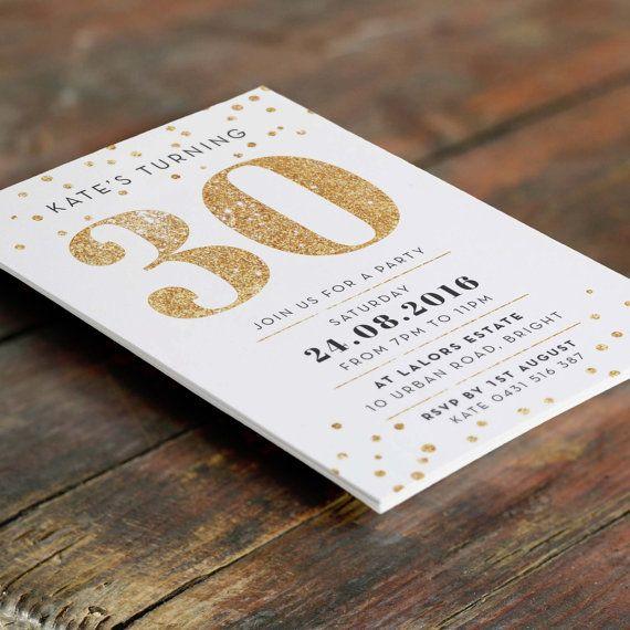 Gold 30th Birthday Invitation A6 (Digital File   Printable PDF). 30  Geburtstag DekoEinladung 30 GeburtstagGeburtstageEinladungskarten SchlaraffenlandParty ...