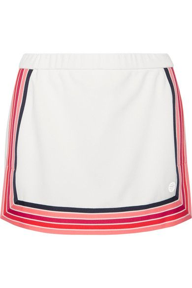Tory Sport - Striped Piqué Skirt - White -