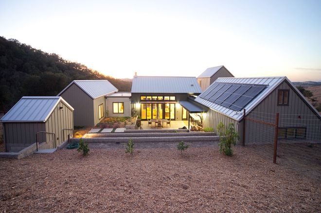 """Holy Moly...top of the list! Everything in one place...I see living quarters & 3 studios working well with this layout & design. """"Barns Inspire a Modern Farm Compound exterior by Gast Architects"""""""