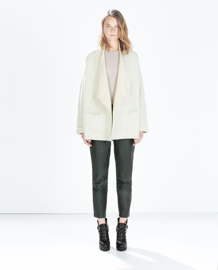 Image 1 of SHORT COAT WITH WIDE LAPELS from Zara