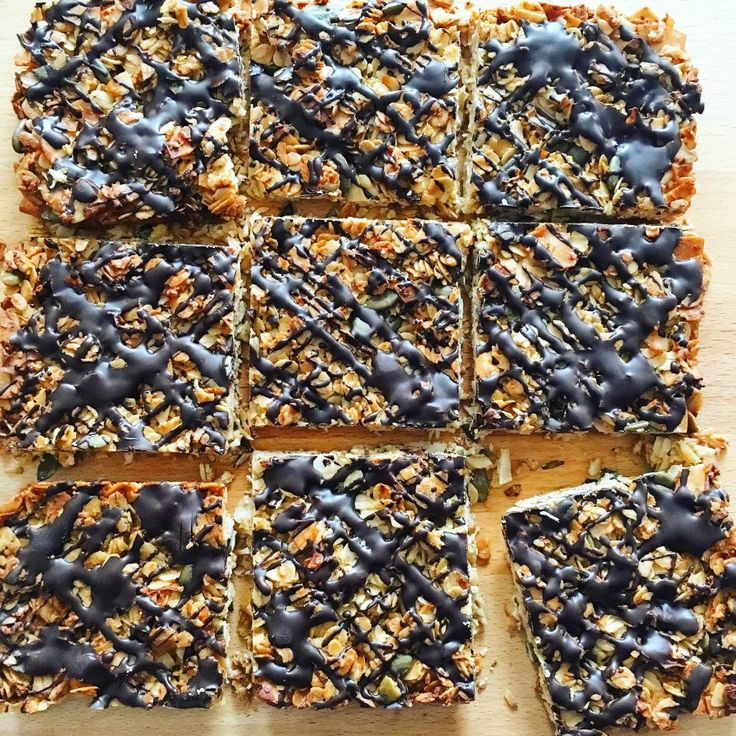 Healthy chocolate and coconut flapjacks. Refined sugar-free.