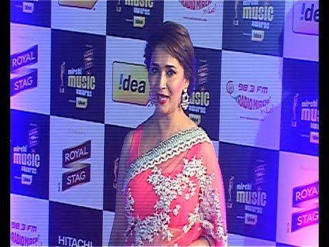 Madhuri Dixit in TRANSPARENT SAREE @ Mirchi Music Awards 2014.