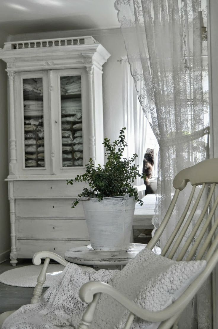 """White on white...serene and clean. (Wonder if milk paint would be a cool way to """"freshen"""" this look...& add a 'later' of texture"""