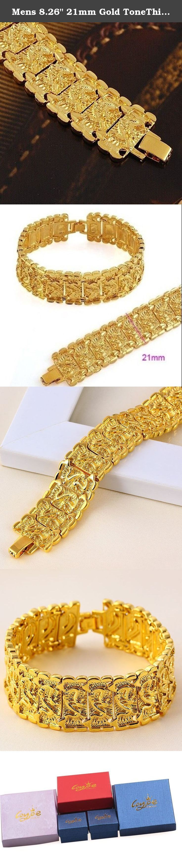 """Mens 8.26"""" 21mm Gold ToneThick Nugget Link Bracelet Dragon Pattern. 24k yellow gold plated mens womens link bracelet length:210mmX21mm weight:41grams What is Gold Plating? Gold plated items have a layer of real gold deposited over another metal. Our jewelry items have gold plated over brass, which gives them a weight that is very similar to real gold jewelry. Do Gold Plated Items Turn? It depends on the quality of the plating. Some gold plated items have a very thin, weak plating that is..."""