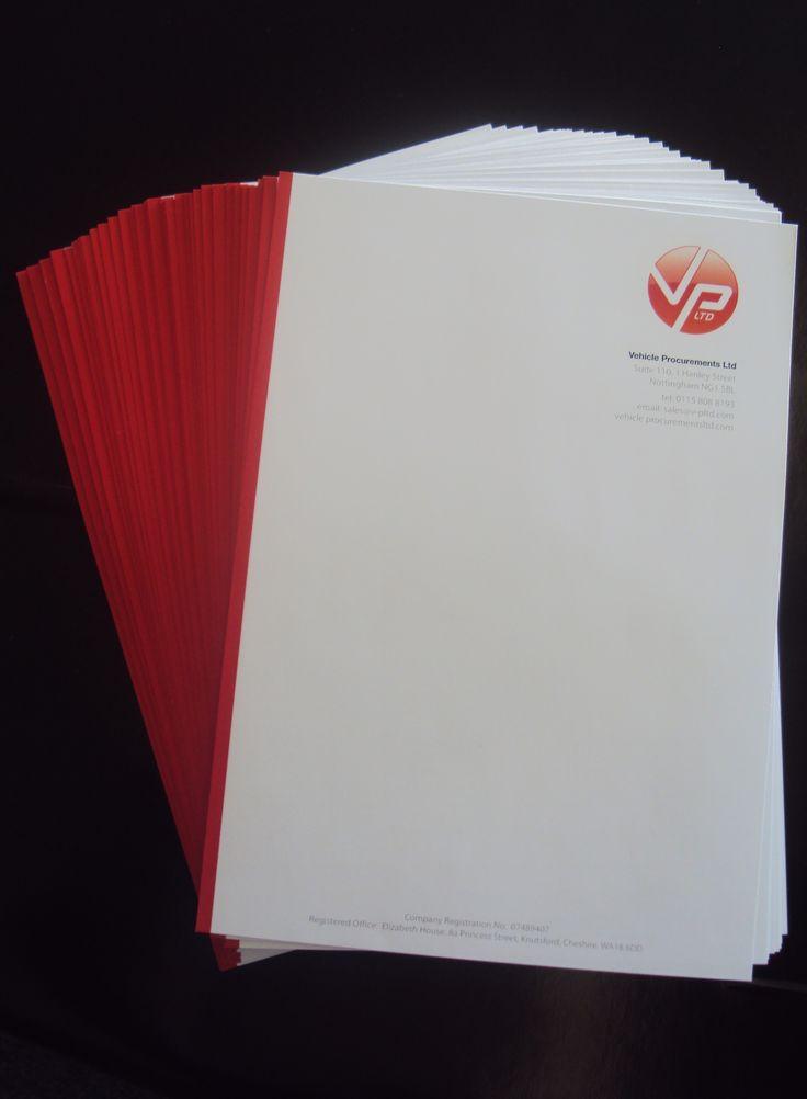 Letterheads designed and printed for Vehicle Procurements.  #PrintNottingham #DesignNottingham #LetterheadDesignNottingham