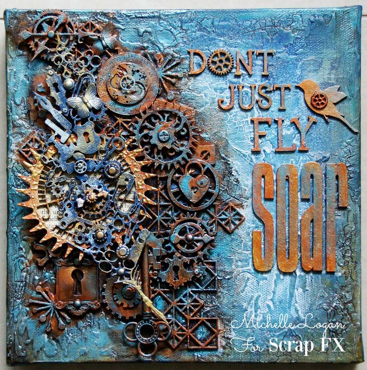 Steampunk canvas by Michelle Logan, featuring Scrap FX: Steampunk Bird, Steampunk Time small, Hip to be Square, and assorted cogs. www.scrapfx.com.au