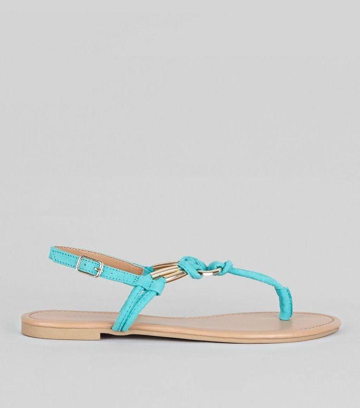 New Look(ニュールック)   New Look Bright Blue Metal Ring Toe Post Sandals - MILANDA(ミランダ)通販