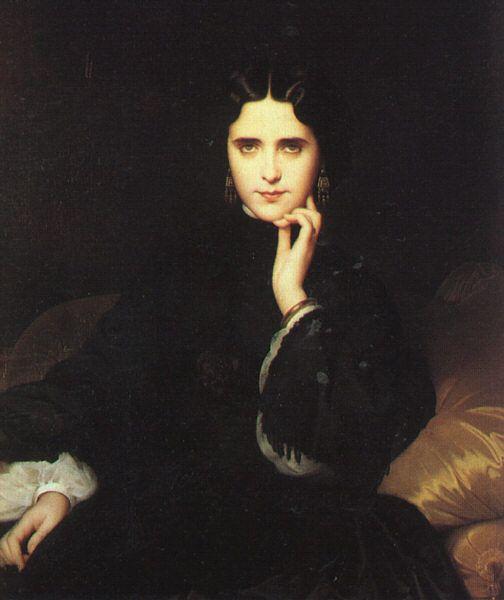 Amaury-Duval : Jeanne Detourbay, future comtesse de Loynes - Musée d'Orsay. « Vers 1901, [...] Dans son salon, Mme de Loynes opposait crânement ses cheveux décolorés, ses rides et ses atours tapageurs au portrait qu'avait fait d'elle Amaury-Duval : une jeune femme brune, aux cheveux sages, strictement vêtue de velours noir. »
