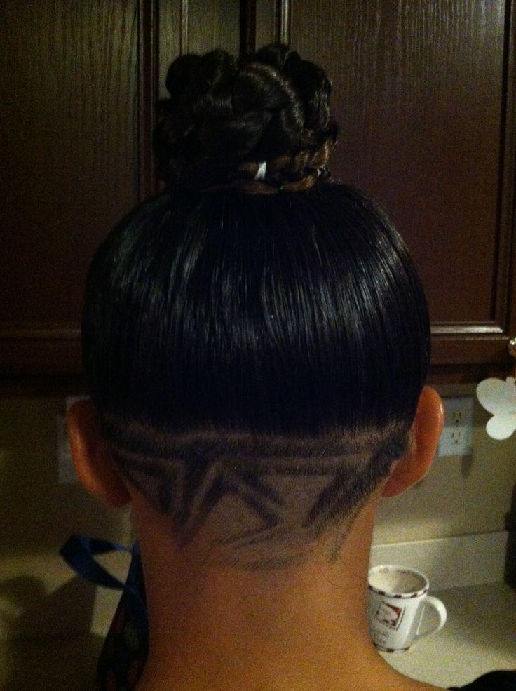 Shaved back of head design