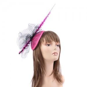 Fuchsia & Black Feather Hat