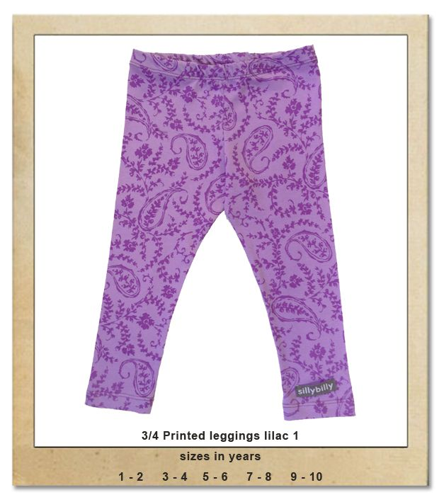Sillybilly© clothing:  3/4 Printed leggings violet 1