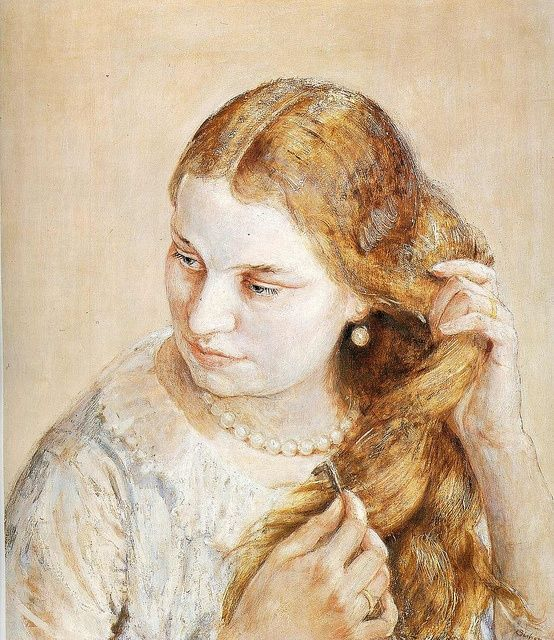 """""""Combing Her Hair,"""" Isabel Bishop, 1932, egg tempera and oil on wood panel, 20 x 17"""", private collection."""