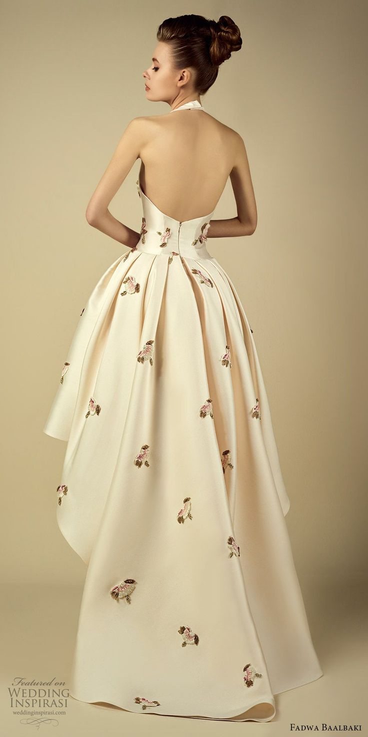fadwa baalbaki spring 2017 couture sleeveless high low a line floral gown (4) bv train -- Fadwa Baalbaki Spring 2017 Couture Dresses
