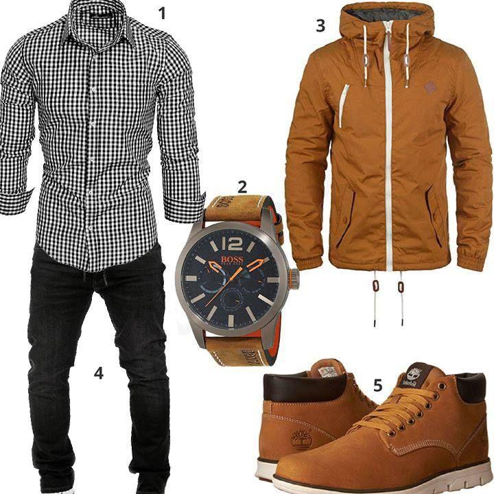 Herrenoutfit mit kariertem Hemd und Steppjacke | Style