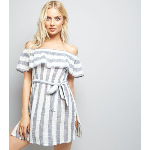 New Look Blue Stripe Bardot Neck Beach Dress (6.650 HUF) ❤ liked on Polyvore featuring dresses, blue pattern, beach dresses, blue ruffle dress, blue dress, cotton dresses and blue beach dress