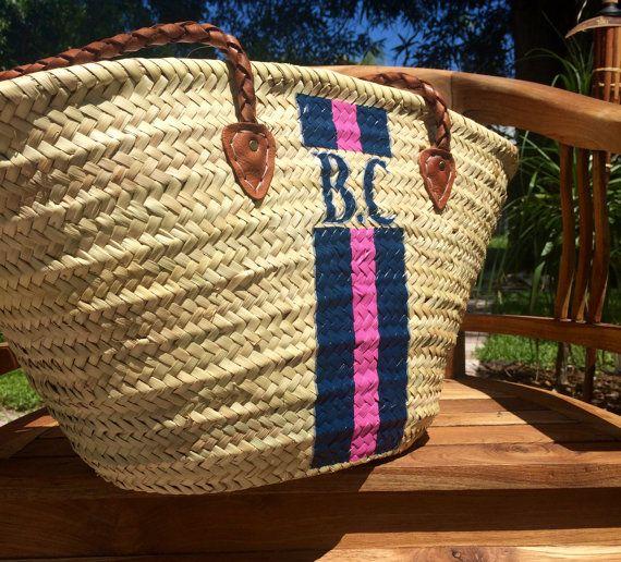 Rayures bleues panier de marché français personnalisé sac