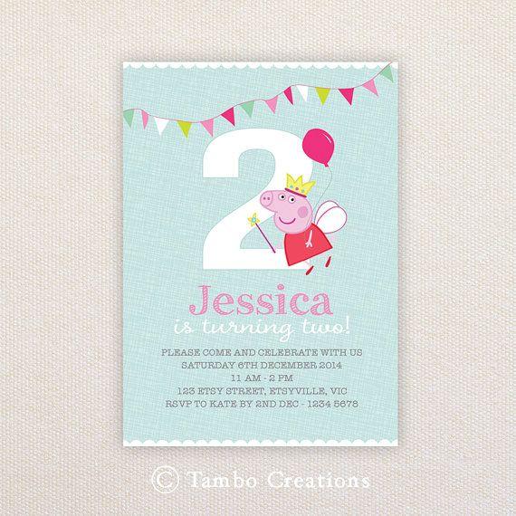 Girls Birthday Party Invitations. Fairy Peppa by Tambocreations, $15.99
