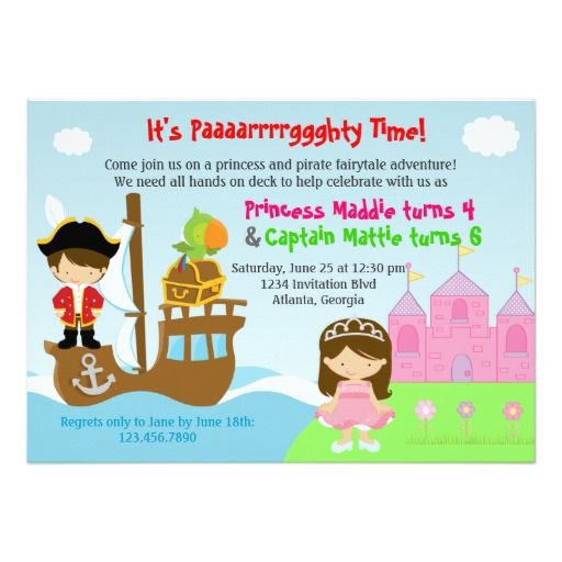 194 best princess birthday gifts images – Princess and Pirate Birthday Invitations