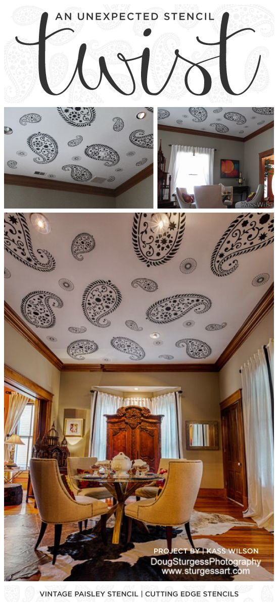 A Vintage Paisley stenciled ceiling in a historic home. http://www.cuttingedgestencils.com/paisley-stencil-vintage.html