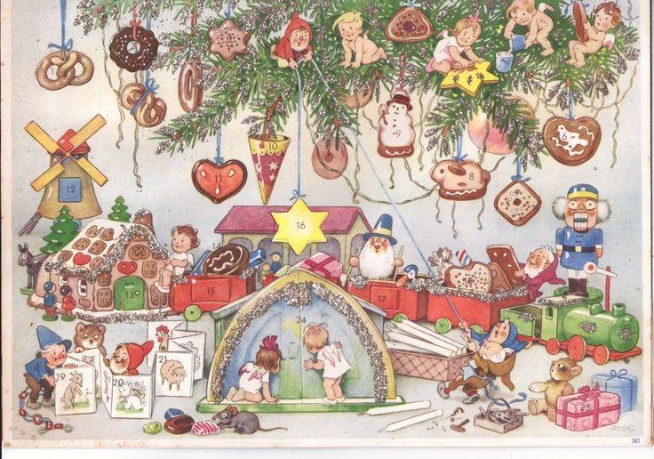 Adventskalender alt, Fritz Baumgarten 381, Spielzeugeisenbahn, mit Glitter   eBay