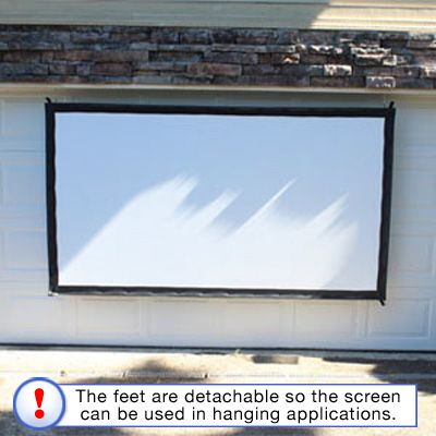 this outdoor portable projector screen can stand or hang from a wall love the versatility