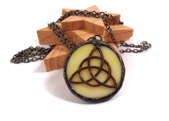 Stained Glass Pendant Yellow Celtic Knot Pendant by coalchild