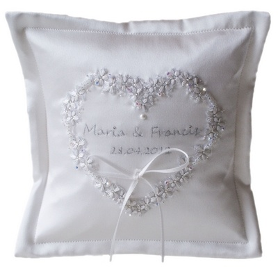 Ivory Embroidered Wedding Ring Cushion with Couture Floral Heart. £64.99