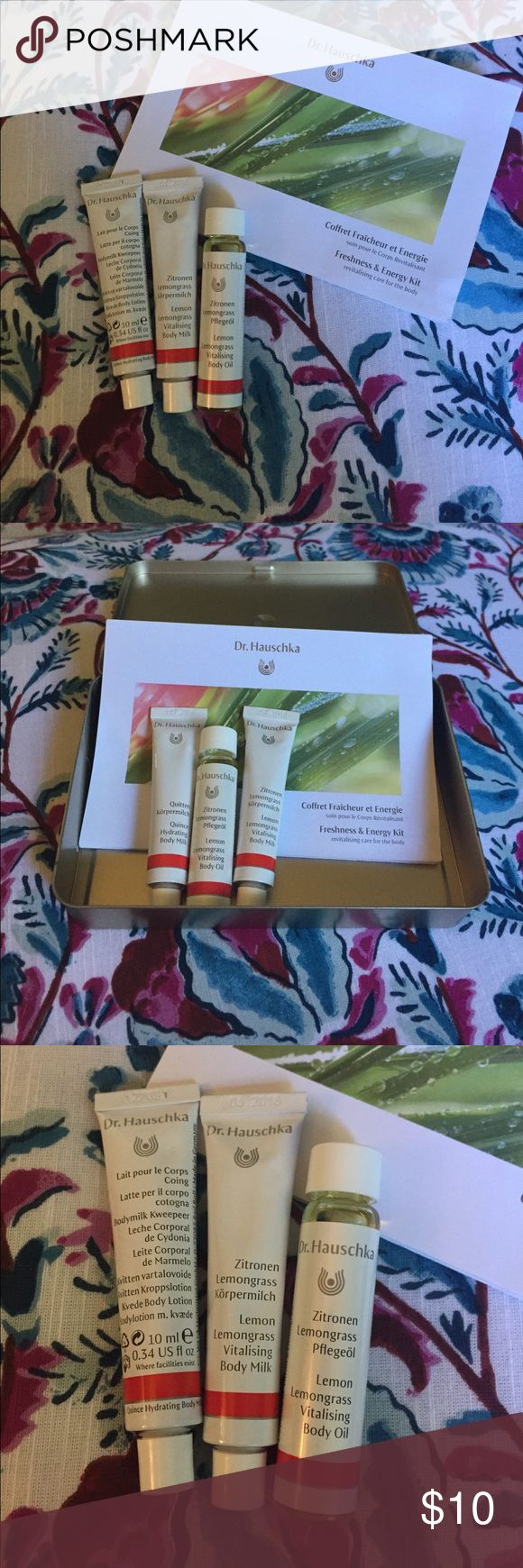 Dr. Hauschka body milk & body oil gift set Dr. Hauschka freshness & energy gift set . Includes : 1 lemon lemongrass body oil ( 10 ml) , 1 lemon lemongrass vitalising body milk ( 10 ml), 1 Quitten hydrating body milk ( 10 ml),  Dr. Hauschka pamphlet , and metal box . This was a gift set I was given a few years back and I haven't used all of the products . Would make a great travel kit or small gift . Outside of box does show some wear. Product is new & unused though 😘 Dr. Hauschka Other