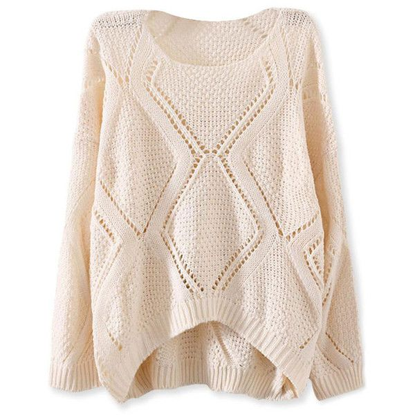Solid Open-Knit Diamond Sweater OASAP.COM ($13) ❤ liked on Polyvore featuring tops, sweaters, oasap, diamond pattern sweater, loose sweater, loose fit tops, pink crochet top y print top