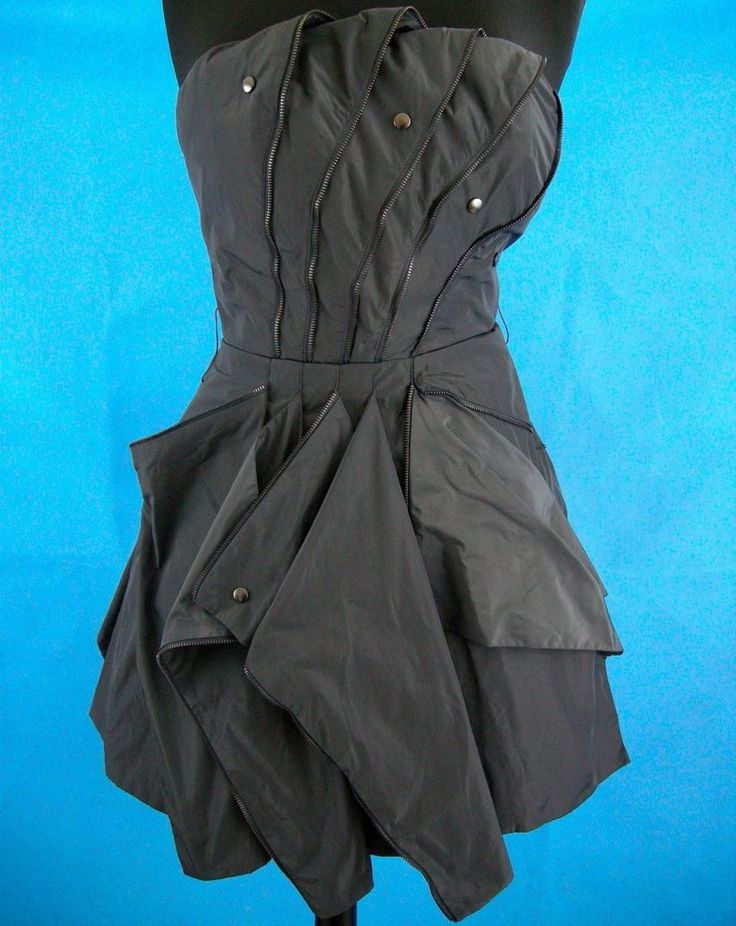 Bebe Uber Zip Origami Gray Dress Strapless Sm Asymmetrical Hem Lined Rock Punk #bebe #AsymmetricalHem