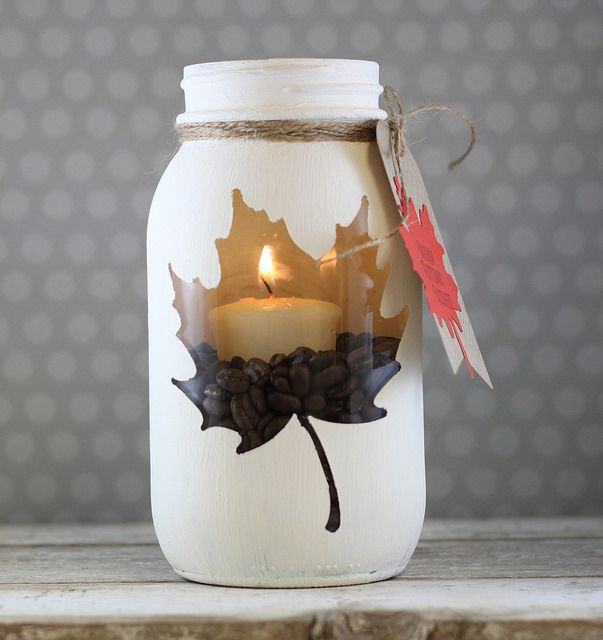 Mason Jar Candle Holder Enclosed Leaf Cut Out The Shape