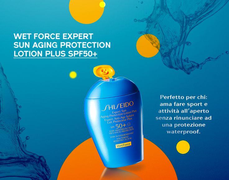 Con l'innovativa tecnologia Wet Force la protezione solare si intensifica a contatto con acqua e sudore e garantisce una protezione a 360° che inibisce i danni causati dai raggi UV e previene rughe e macchie brune. http://www.shiseido.it/category/solari/