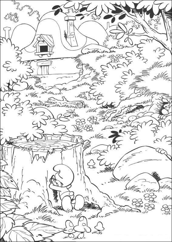 Smølferne Tegninger til Farvelægning. Printbare Farvelægning for børn. Tegninger til udskriv og farve nº 11