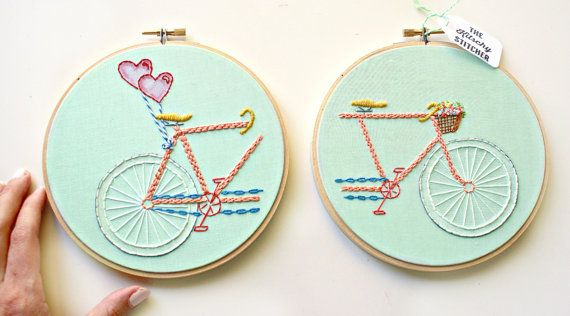 Tandem Bike in Mint>Embroidery Hoop Art>Embroidered Bike>Embroidery Designs>Retro Bike Art>Bicycle Built For 2>Couples Gift Idea>Bike Basket