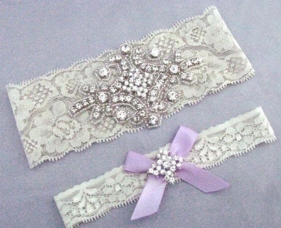 Purple Wedding Garter, Crystal Rhinestone Bridal Garter, Off White or Ivory Stretch Lace Garter Set, Silver Garter, Lavender Bow Garter