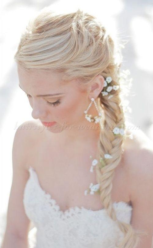 braided wedding hairstyles, bridal hairstyles with plaits - braided ponytail wedding hairstyle