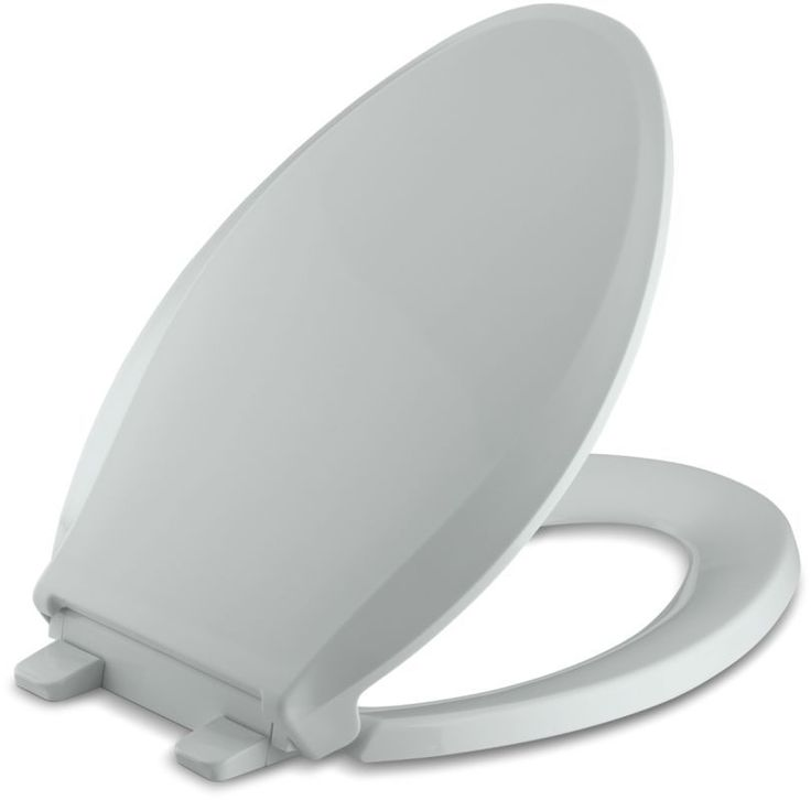 Kohler K-4636 Cachet Q3 Elongated Closed-Front Toilet Seat with Quiet-Close Tech Ice Grey Accessory Toilet Seat Elongated