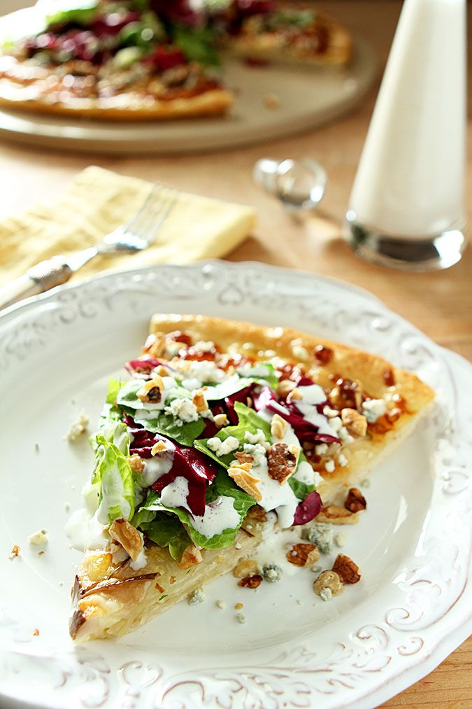 Pear, Gorgonzola and Hazelnut Pizza with Mixed Greens #FoodNetwork #ComfortFoodFeast