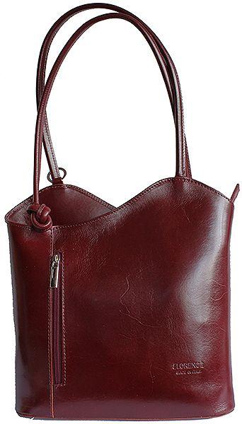 Multi-Way Burgundy Leather Shoulder Bag/Backpack
