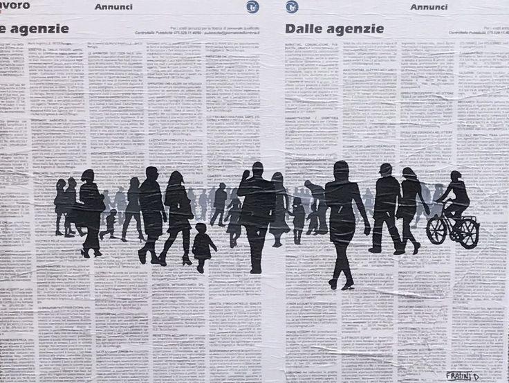 THE SOCIAL Acrilico su tela con Giornale 50x40h  By Daniele Fratini