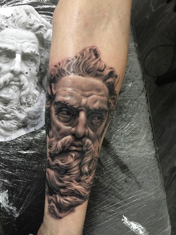 Zeus by my amazing son, Ash Higham at Rapture Tattoo Studio