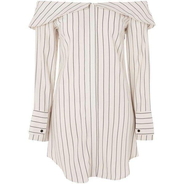 Topshop Stripe Bardot Shirt Dress (805 ZAR) ❤ liked on Polyvore featuring dresses, topshop, ivory, long-sleeve shirt dresses, striped dresses, t-shirt dresses, button-down shirt dresses and white shirt dress