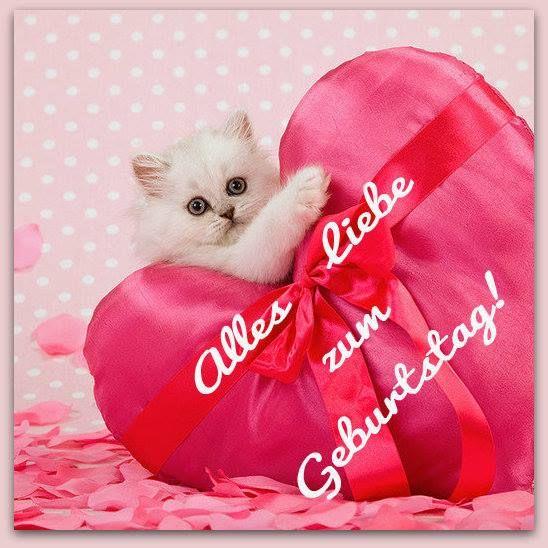 Kätzchen mit einem großen Herzen: Alles Liebe Zum Geburtstag!