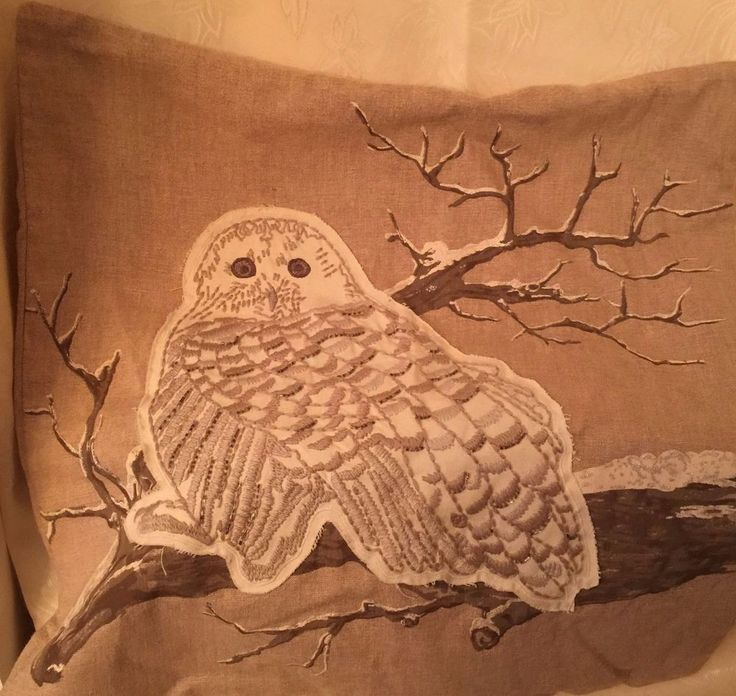 """Pottery Barn Snow Owl on Branch Embroidered Applique Beige Pillow Cover 24""""x24""""  #POTTERYBARN"""